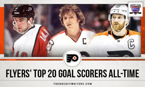 Philadelphia Flyers' Top 20 Goal Scorers All-Time Bobby Clarke, John LeClair, and Claude Giroux