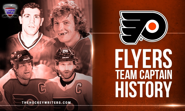 Philadelphia Flyers Team Captain History Lou Angotti, Bobby Clarke, Eric Lindros and Claude Giroux