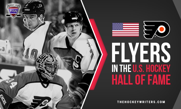 Philadelphia Flyers in the U.S. Hockey Hall of Fame Mark Howe, John LeClair, and John Vanbiesbrouck