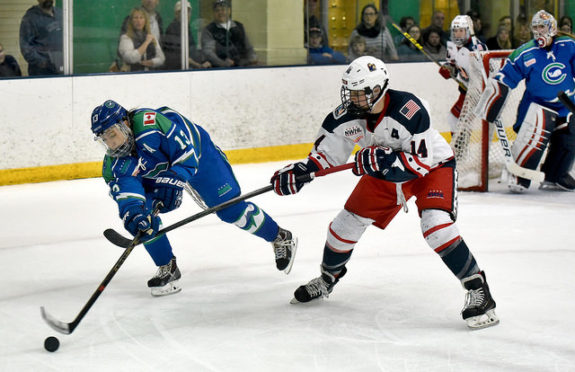 Next season Kaleigh Fratkin (L) and Madison Packer will be teammates with the New York Riveters rather than rivals. (Photo Credit: Troy Parla)