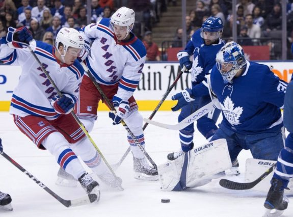 Toronto Maple Leafs Frekerik Andersen New York Rangers' Jimmy Vesey