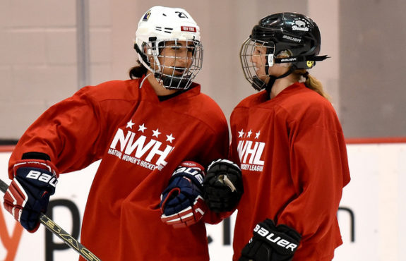 Gabie Figueroa and Hayley Williams share a laugh during the NWHL Free Agent Camp in NJ. (Photo Credit: Troy Parla)