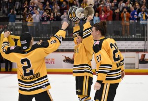 Alyssa Gagliardi and Hilary Knight of the Boston Pride react as Brianna Decker hoists the Isobel Cup. (Photo Credit: Troy Parla)