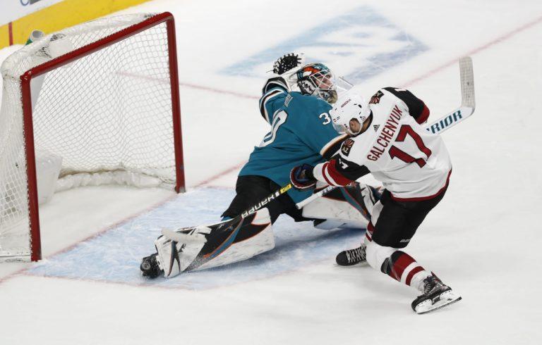 Arizona Coyotes' Alex Galchenyuk San Jose Sharks Aaron Dell