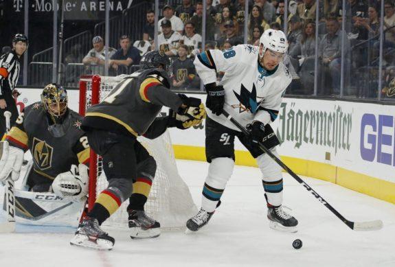 San Jose Sharks Timo Meier Vegas Golden Knights Pierre-Edouard Bellemare