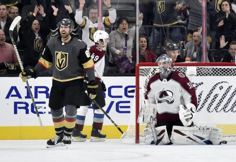 Vegas Golden Knights Alex Tuch Colorado Avalanche Philipp Grubauer