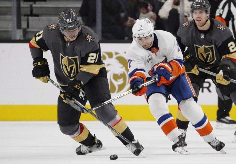 Vegas Golden Knights Cody Eakin and New York Islanders Jordan Eberle