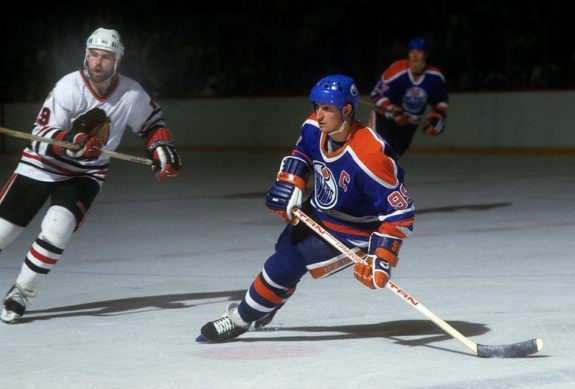 Wayne Gretzky scored an NHL record 215 points in 1985-86