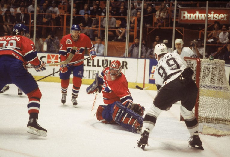 Patrick Roy and Wayne Gretzky