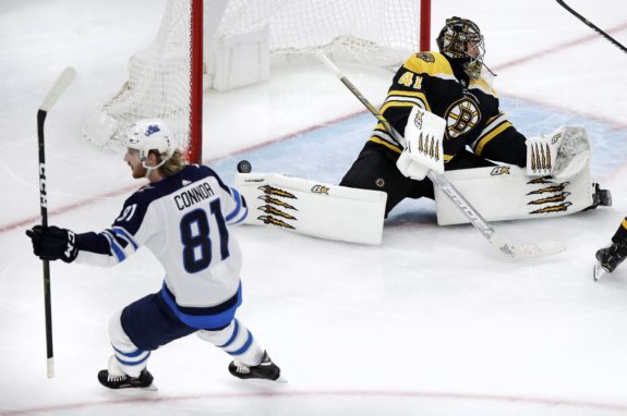 Winnipeg Jets Kyle Connor Boston Bruins Jaroslav Halak