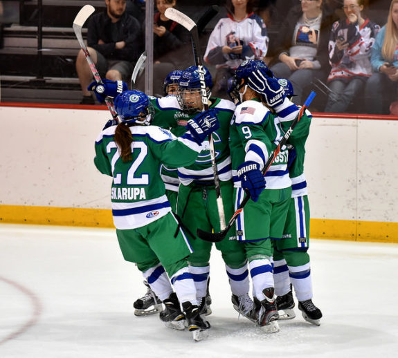 Haley Skarupa and the Connecticut Whale celebrate a goal. (Photo Credit: Troy Parla)