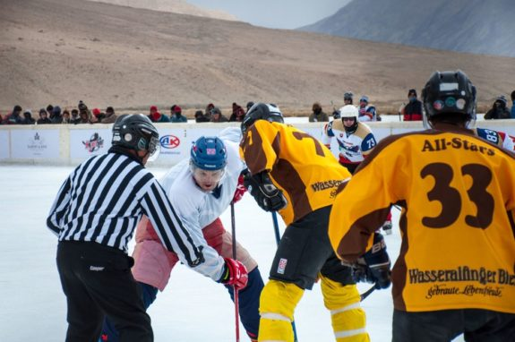 Highest Altitude Hockey Game Faceoff
