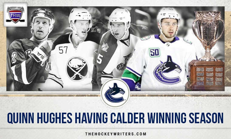 Quinn Hughes Tyler Myers, Aaron Ekblad, and Brian Leetch Quinn Hughes Having Calder Winning Season