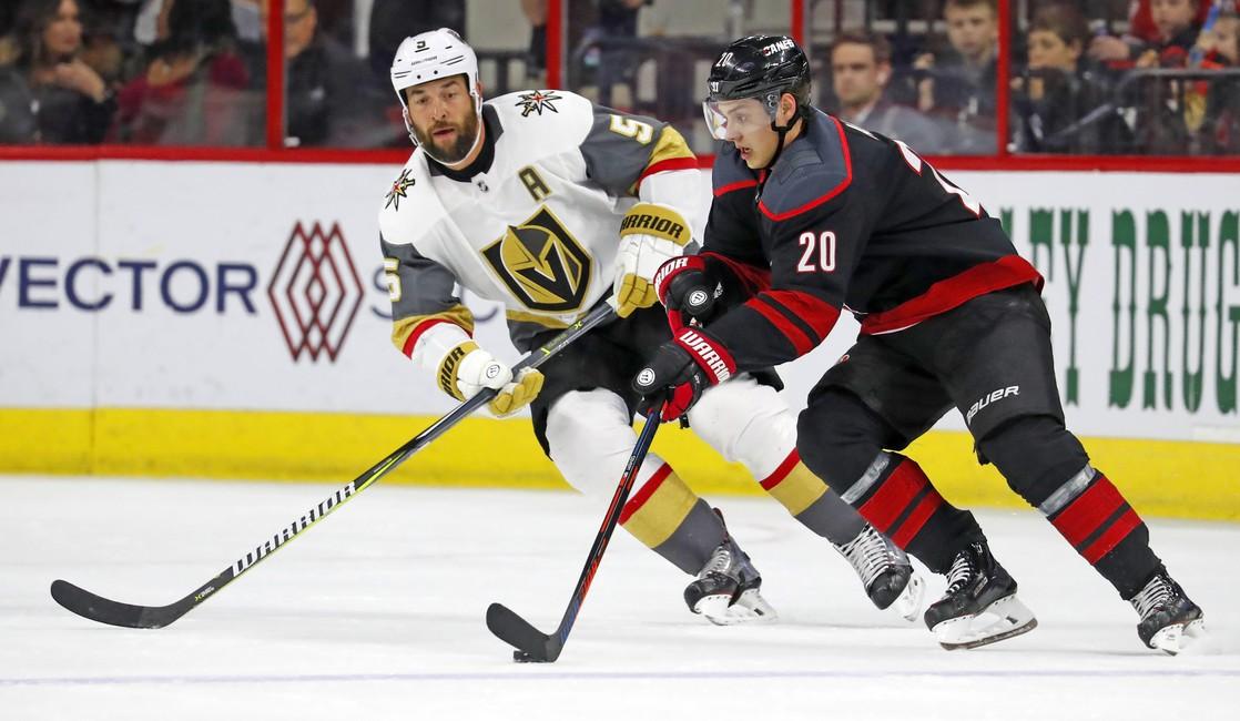 Carolina Hurricanes' Sebastian Aho Vegas Golden Knights' Deryk Engelland