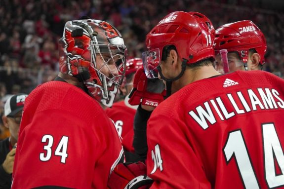 Carolina Hurricanes Petr Mrazek Justin Williams