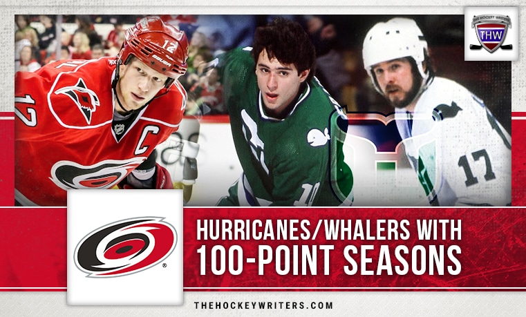 100-point seasons Carolina Hurricanes / Hartford Whalers Eric Staal, Ron Francis and Mike Rogers