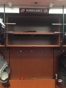 The locker formerly known as Eric Staal's sits empty in the Carolina Hurricanes locker room