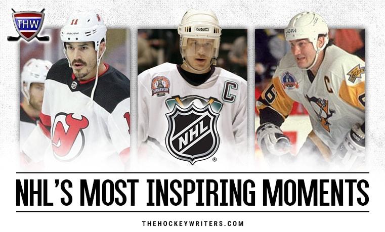 Brian Boyle New Jersey Devils Mario Lemieux Pittsburgh Penguins and Paul Kariya Anaheim Ducks