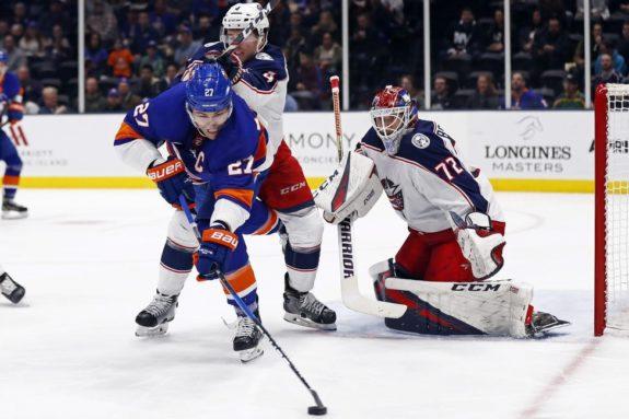 New York Islanders Anders Lee Columbus Blue Jackets Scott Harrington Sergei Bobrovsky