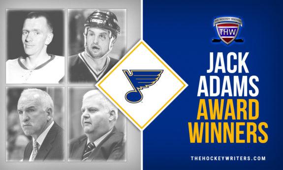 St. Louis Blues' Hockeymas 4 Jack Adams Award Winners Red Berenson, Brian Sutter, Joel Quenneville, and Ken Hitchcock