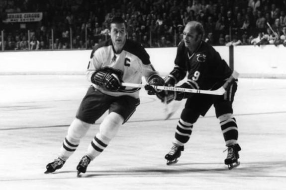 Jean Beliveau #4 of the Montreal Canadiens