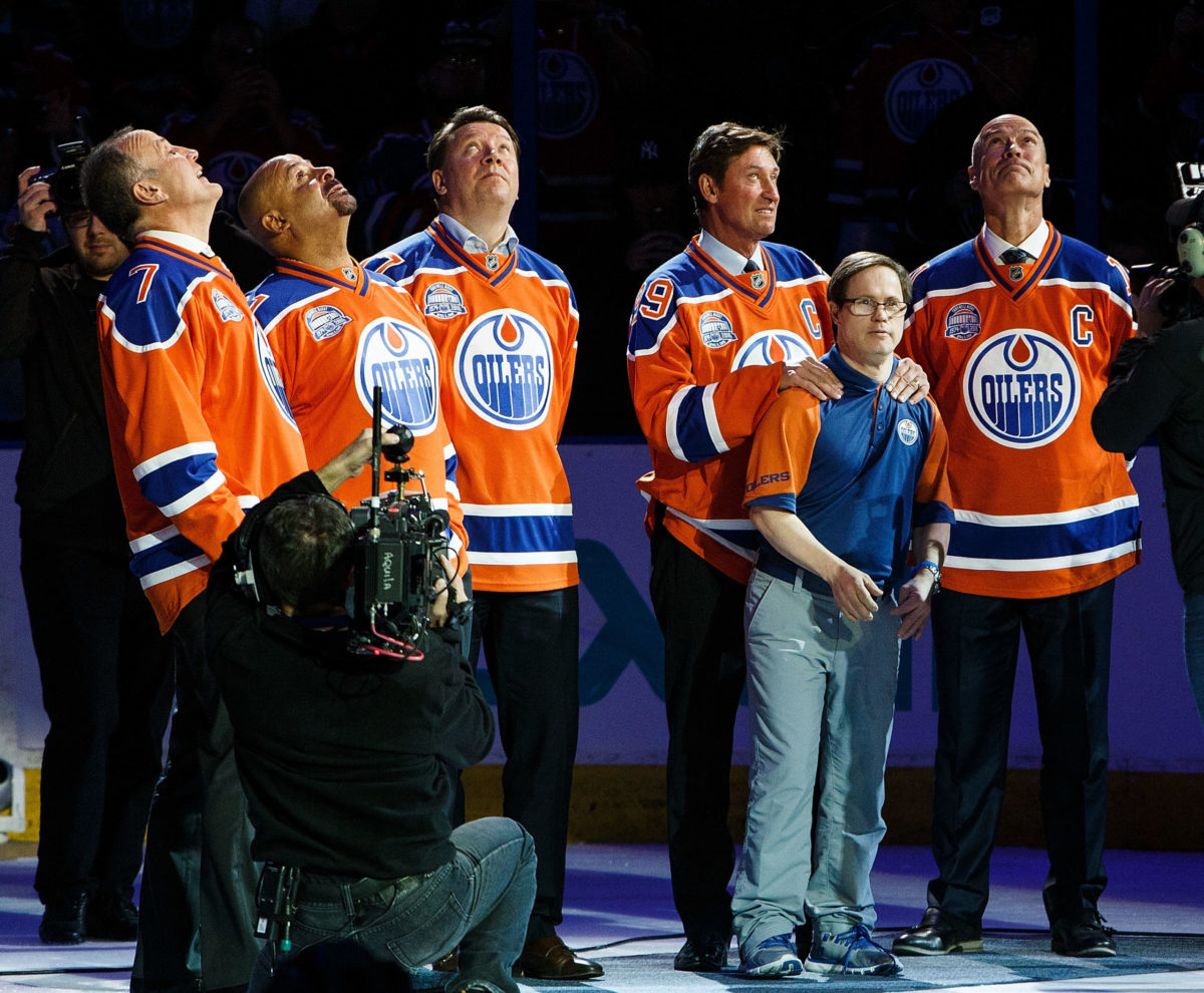 Coffey Fuhr Kurri Gretzky Messier Moss Edmonton Oilers