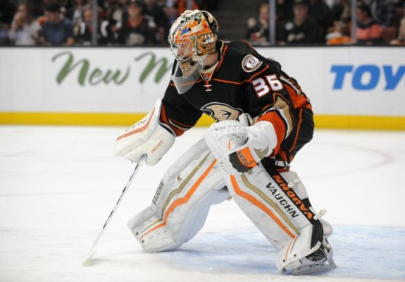 John Gibson may or may not be part of the future in Anaheim, yet he's found a spot ato(Gary A. Vasquez-USA TODAY Sports)
