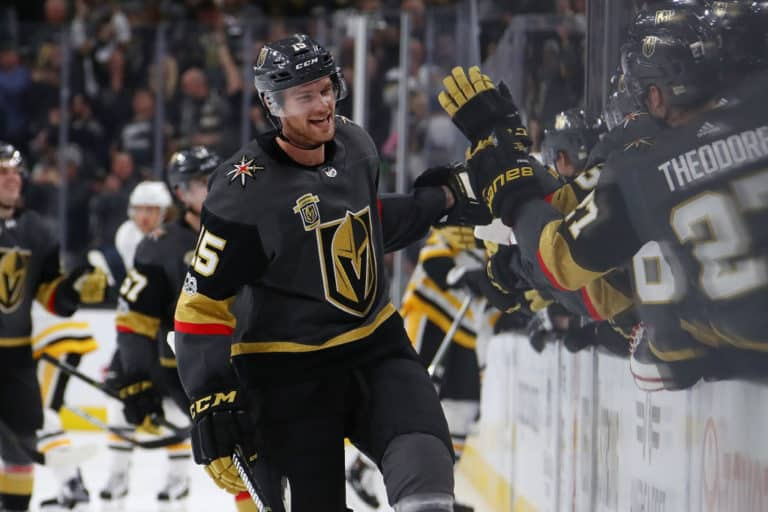 Jon Merrill #15 of the Vegas Golden Knights