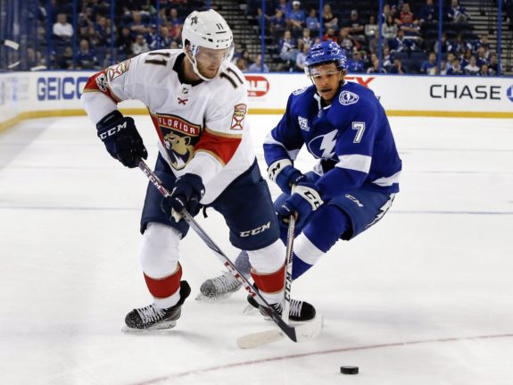 Florida Panthers center Jonathan Huberdeau, Mathieu Jospeh
