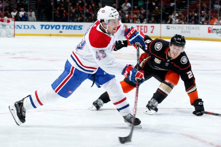 Jordan Weal #43 of the Montreal Canadiens
