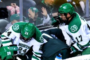 UND's Christian Wolanin and Tyson Jost (Photo Credi: Russell Hons UNDsports.com)
