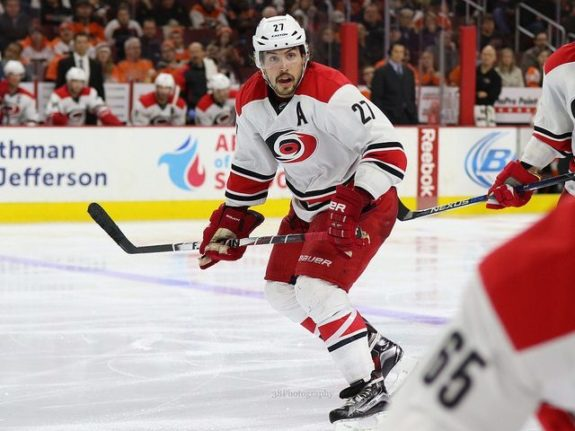 (Amy Irvin/The Hockey Writers) Justin Faulk is not a player that Carolina Hurricanes fans want to part with. Not even for Edmonton's Ryan Nugent-Hopkins, at least not straight up.