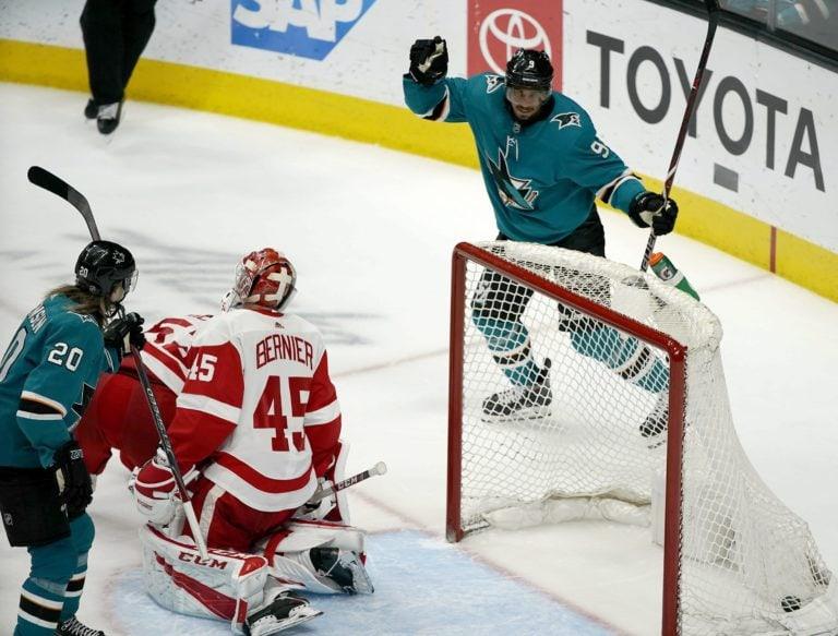 San Jose Sharks Evander Kane Detroit Red Wings Jonathan Bernier