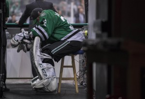 Kari Lehtonen's Game 7 disaster against St. Louis is cause for concern in Dallas.(Jerome Miron-USA TODAY Sports)