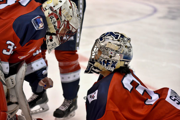 New York Riveters goalies Katie Fitzgerald and Sojung Shin (Photo Credit: Troy Parla)