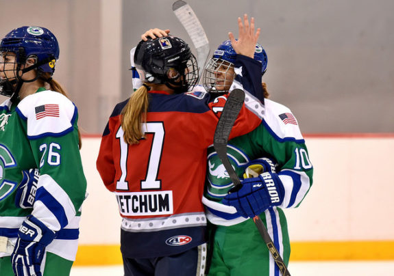 Former teammates Bray Ketchum and Elena Orlando pat act other on the head after a Riveters-Whale game. (Photo Credit: Troy Parla)
