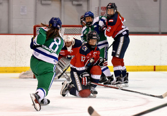 Bray Ketchum of the Riveters blocks Kelly Babstock's shot. (photo credit: Troy Parla)