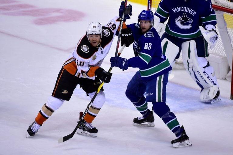 Kiefer Sherwood Anaheim Ducks Jay Beagle Vancouver Canucks