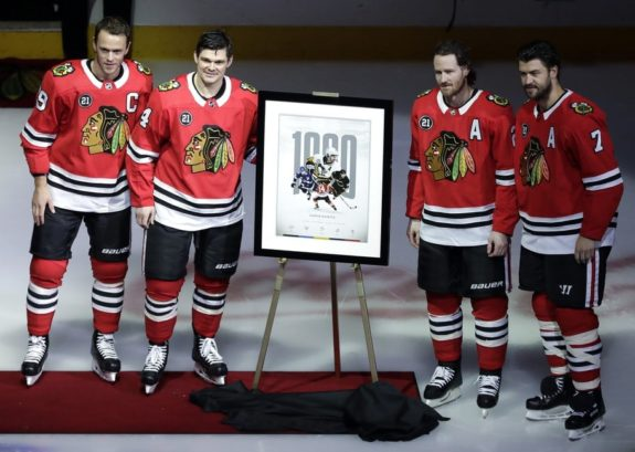 Chris Kunitz, Jonathan Toews, Duncan Keith, Brent Seabrook