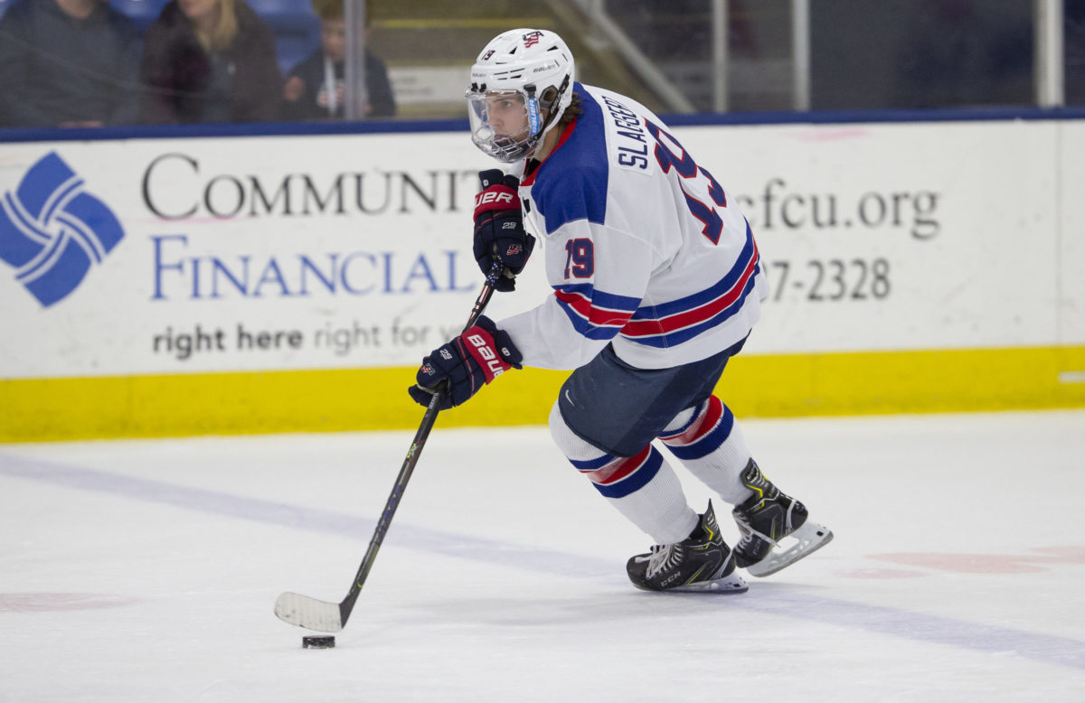 Blackhawks prospect Landon Slaggert hopes to play again for Team USA and to earn his college degree.