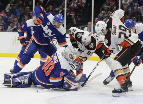 Anaheim Ducks' Devin Shore Derek Grant New York Islander Robin Lehner