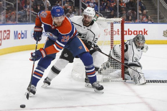 Los Angles Kings' Alec Martinez and Edmonton Oilers' Leon Draisaitl