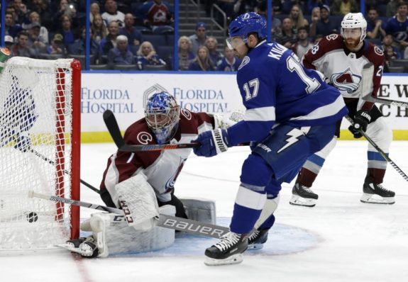 Colorado Avalanche Semyon Varlamov Tampa Bay Lightning Alex Killorn