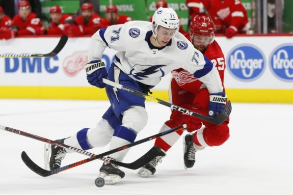Detroit Red Wings defenseman Mike Greenand Tampa Bay Lightning center Anthony Cirelli