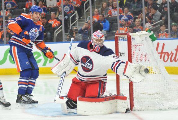 Edmonton Oilers Milan Lucic Winnipeg Jets Connor Hellebuyck