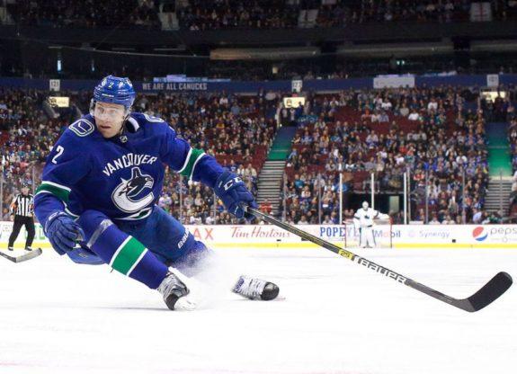 Luke Schenn #2 of the Vancouver Canucks