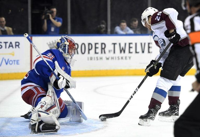 Colorado Avalanche Nathan MacKinnon New York Rangers Igor Shesterkin/Shestyorkin