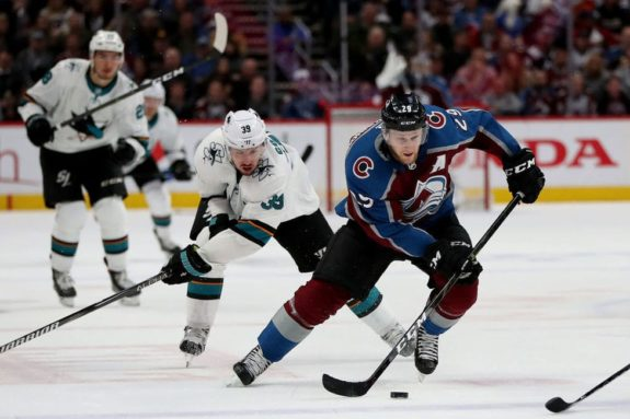 Nathan MacKinnon Colorado Avalanche Logan Couture San Jose Sharks