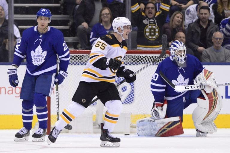 Boston Bruins Noel Acciari Toronto Maple Leafs Michael Hutchinson Nikita Zaitsev