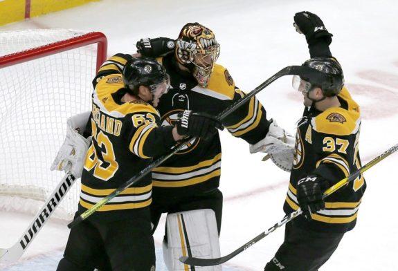 Boston Bruins Tuukka Rask Brad Marchand Patrice Bergeron